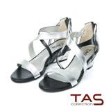 TAS 交叉繞踝金屬羊皮楔型涼鞋-個性黑