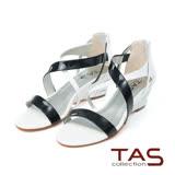 鞋包TAS 交叉繞踝金屬羊皮楔型涼鞋-時尚白