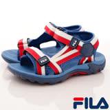 FILA頂級童鞋-運動休閒涼鞋-S431R-231藍紅-(19-23cm)