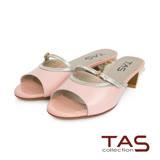 TAS 鏤空一字繫帶幾何後跟涼拖鞋-氣質粉