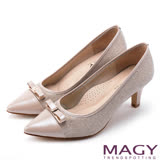 MAGY 時髦氣場 親膚真皮雙材質尖頭高跟鞋-粉色