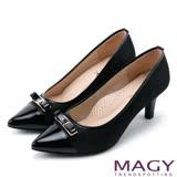 MAGY 時髦氣場 親膚真皮雙材質尖頭高跟鞋-黑色