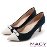 MAGY 時髦氣場 親膚真皮雙材質尖頭高跟鞋-藍色