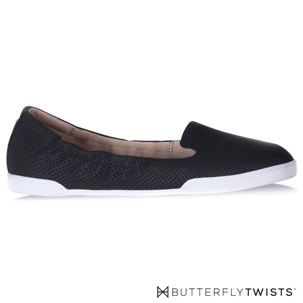 BUTTERFLY TWISTS-JADE記憶軟墊平底鞋-蛇紋黑