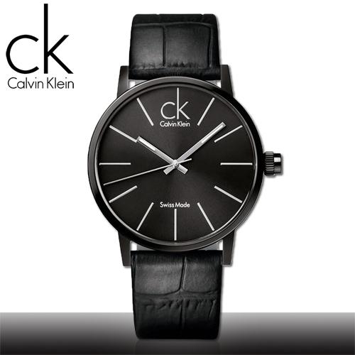 瑞士 Calvin Klein 不鏽鋼錶殼 皮革錶帶 時尚男錶 黑面(K7621401)