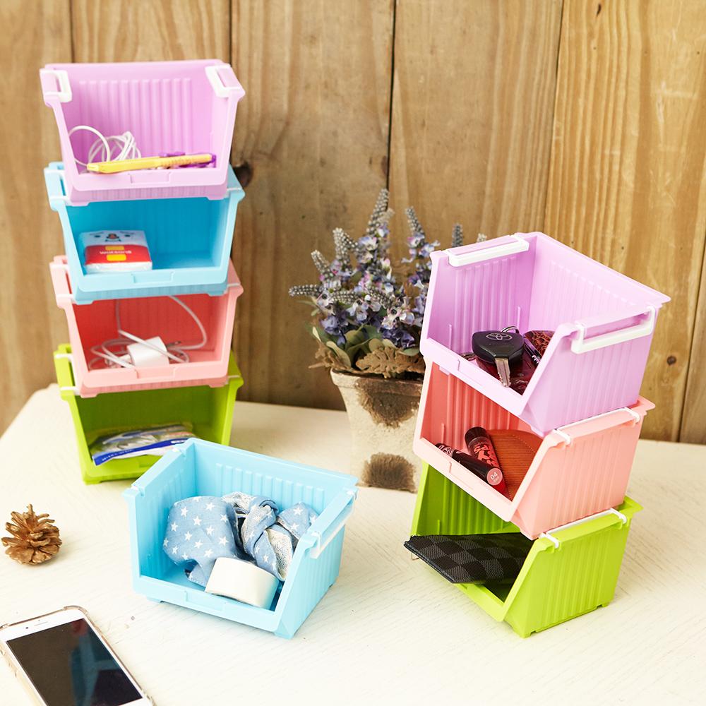 【ikloo】繽紛堆疊迷你收納盒(8入)