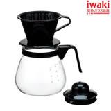【iwaki】多用玻璃微波咖啡壺 1L(黑)