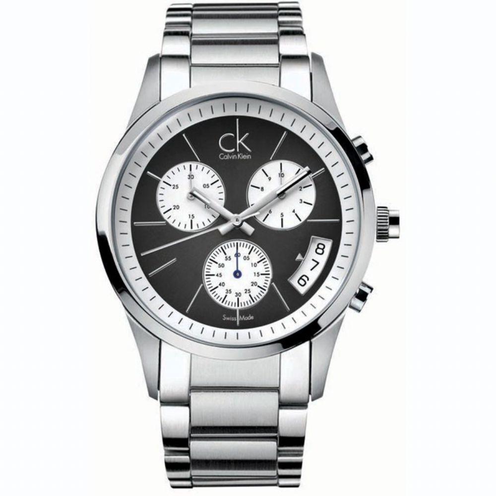 瑞士 Calvin Klein 黑爵彎月三眼計時男錶 (K2247107)