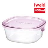 【iwaki】玻璃微波盒 450ml(粉)
