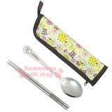 〔小禮堂〕布丁狗 不?袗?匙筷餐具組《黃.20週年紀念.PN-8237》附布質收納套
