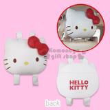 〔小禮堂〕Hello Kitty 車用造型椅頭套《白.大臉型.紅蝴蝶結》經典皮革系列