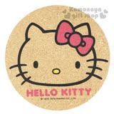 〔小禮堂〕Hello Kitty 圓形軟木製隔熱墊《棕.大臉.粉蝴蝶結.LOGO》可隔熱又環保兩相宜