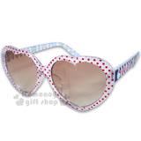 〔小禮堂〕Hello Kitty 兒童太陽眼鏡《透明.紅點點.海軍風》心形鏡片