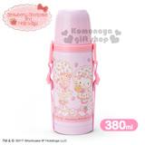 〔小禮堂〕Hello Kitty X Strawberry Shortcake 2way不鏽鋼水壺《粉.草莓.點點.蝴蝶結.380ml.附背繩》保溫.保冷OK!