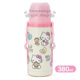 〔小禮堂〕Hello Kitty 2way不鏽鋼水壺《粉黃.愛心.小熊.380ml.附背繩》保溫.保冷OK!