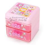 〔小禮堂〕Sanrio 大集合 桌上型雙抽置物櫃《粉.彩方格.糖果.愛心》可當飾品盒.繽紛80年代系列