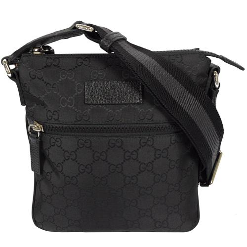 GUCCI 經典雙G緹花緞面皮飾邊小斜背包.黑