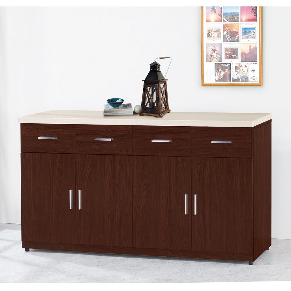 【顛覆設計】碩威5.3尺胡桃色石面餐櫃下座