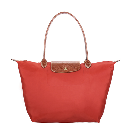 Longchamp 長提把大型水餃包-磚紅色