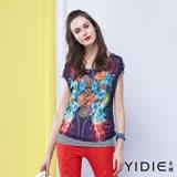 【YIDIE衣蝶】鑽飾印花兩件式薄紗小背心上衣