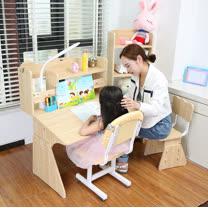 護眼博士 加大版可調式成長桌椅組_含書架(三色任選)