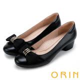 ORIN 時尚OL 嚴選柔軟羊皮五金釦環低跟鞋-黑色