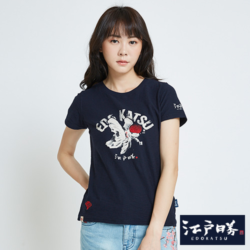 EDWIN 江戶勝金鯉吉祥短袖T恤-女-丈青