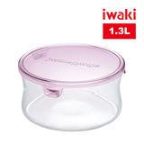【iwaki】玻璃微波罐 1.3L(圓型粉)