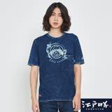 EDWIN 江戶勝 INDIGO口袋剪接寬版短袖T恤-男-丈青