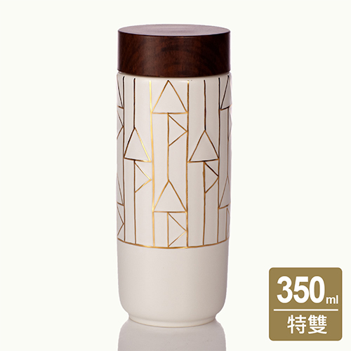 乾唐軒活瓷 ‧點石成金隨身杯  直紋   大  特雙  牙白描金  木紋蓋