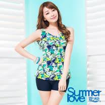 【夏之戀SUMMER LOVE】大女長版印花二件式泳衣S17723