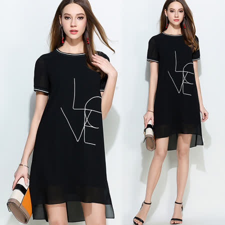 【KVOLL】LOVE刺繡短袖連衣裙 -friDay購物