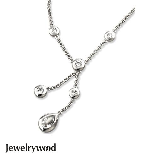 Jewelrywood 純銀天使之淚晶鑽項鍊