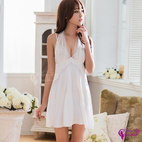 【Sexy Cynthia】性感睡衣 純白柔緞兩穿禮服式睡衣