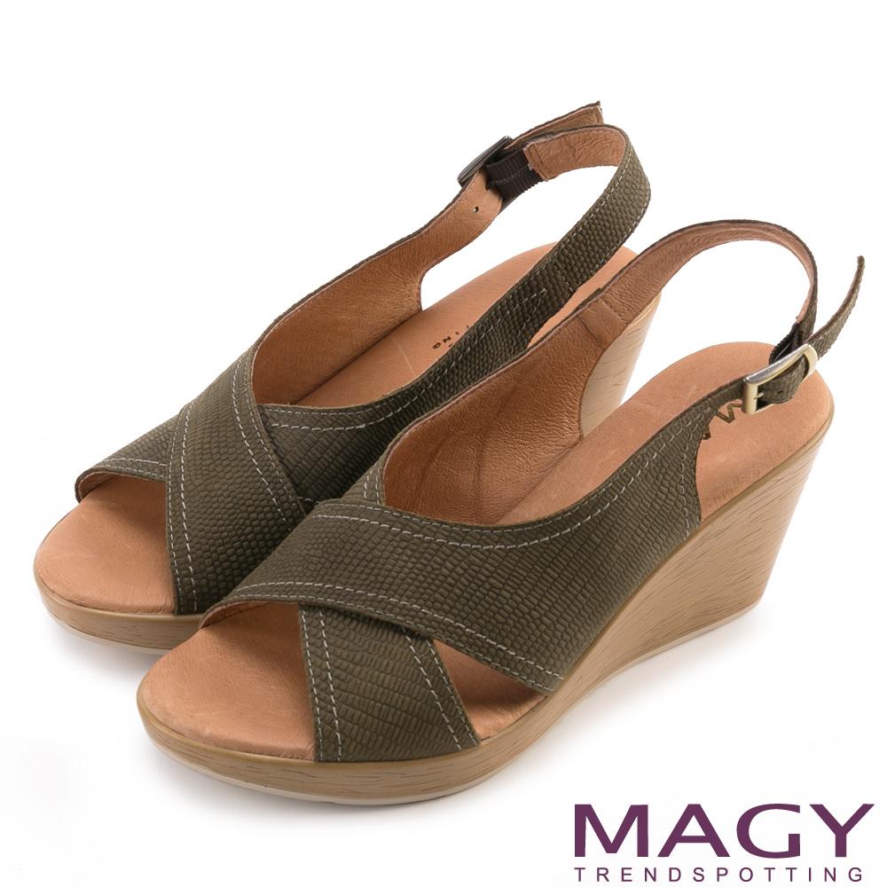MAGY 夏日時尚 造型交叉牛皮舒適楔型涼鞋-墨綠