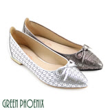 【GREEN PHOENIX】蝴蝶結雷射雕花金屬感全真皮平底尖頭娃娃鞋