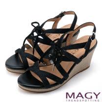 MAGY 異國時尚風情 鏤空綁帶楔型高跟羅馬涼鞋-黑色