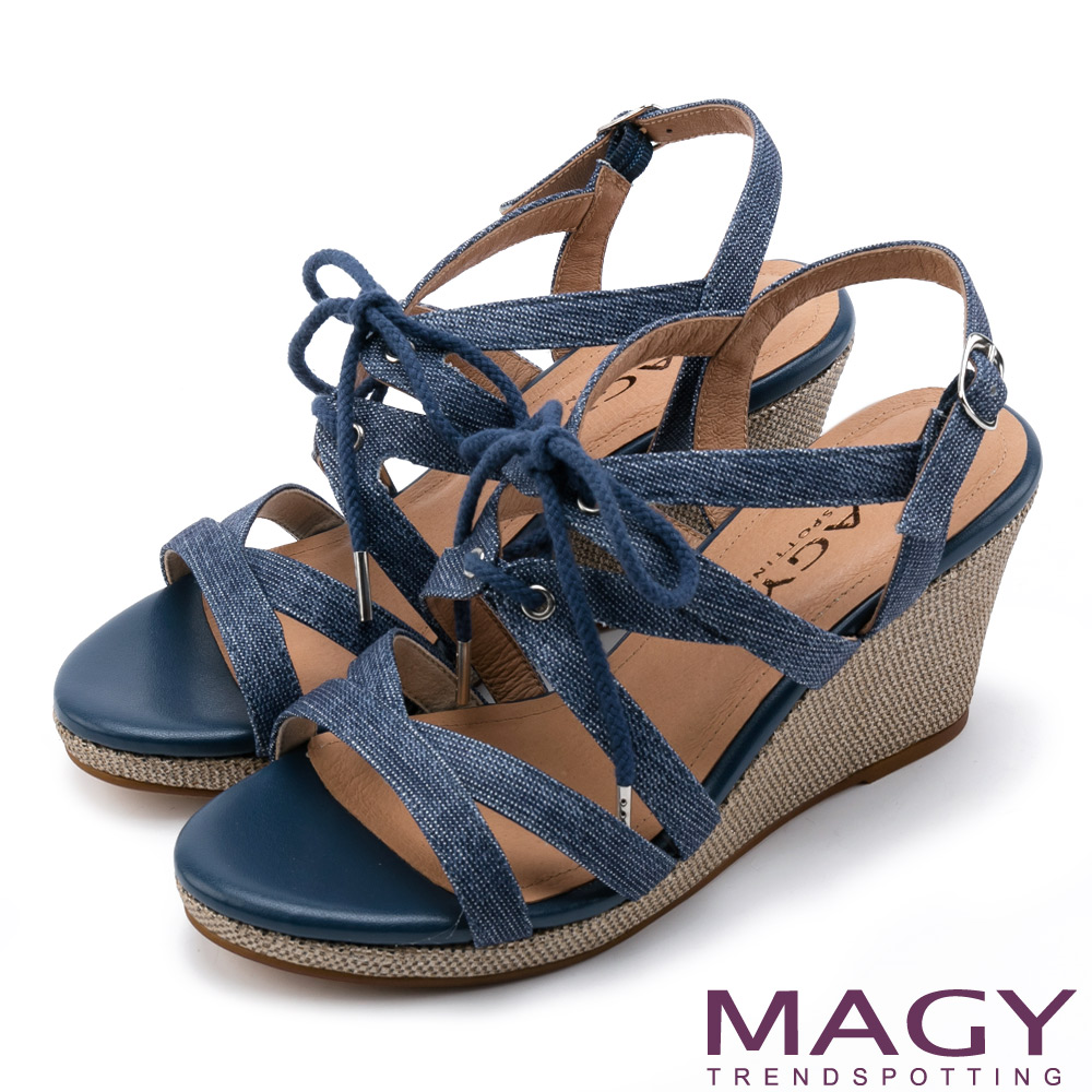 MAGY 鏤空綁帶楔型高跟涼鞋
