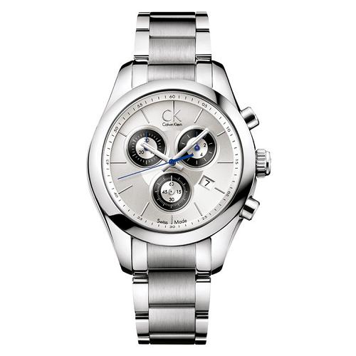 瑞士 Calvin Klein 時尚三眼計時不鏽鋼女錶 (K0K28120)