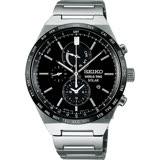 SEIKO 精工 SPIRIT 太陽能兩地時間計時腕錶-黑/41mm V195-0AE0D(SBPJ025J)