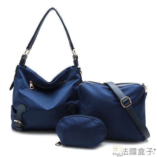 【法國盒子】優質輕量防潑水時尚百搭超值三件組(藍色)902