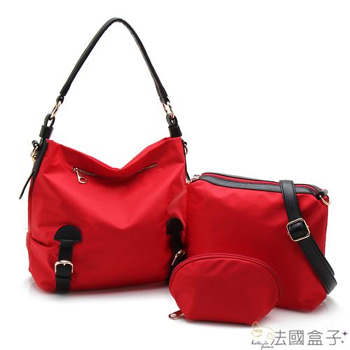 【法國盒子】優質輕量防潑水時尚百搭超值三件組(紅色)902