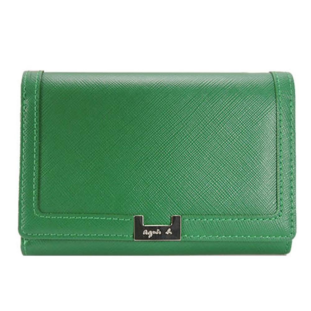 agnes b.H鐵牌三折中夾(綠)