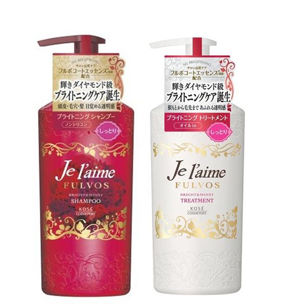 日本高絲KOSE 無矽靈亮澤保濕洗髮精/潤絲精-紅 (滋潤型 浪漫花果香)500ml