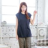 【Tiara Tiara】激安 簡約素色圓領長版短袖上衣(深藍)