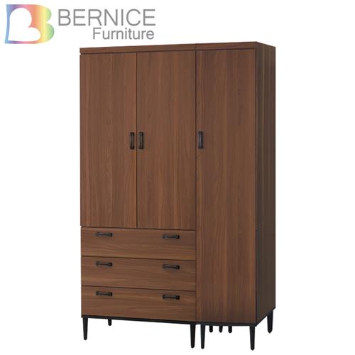 Bernice-約瓦工業風4尺三門三抽衣櫃/衣櫃