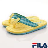 FILA頂級童鞋-運動休閒夾腳涼鞋-S434R-933黃藍-(20-24cm)