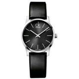 CK / K2G23107 / 城市時尚大面徑弧型切面皮革手錶 灰x黑 31mm