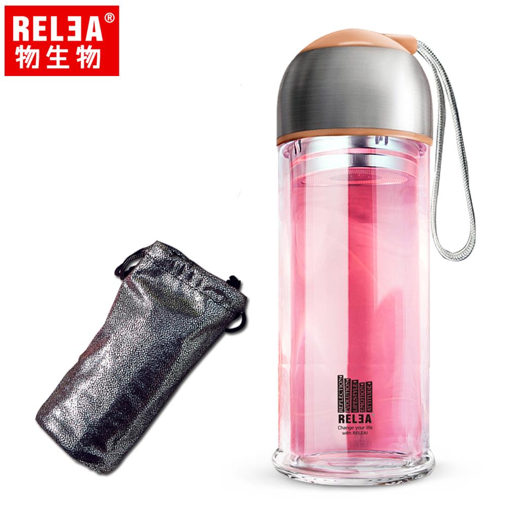 【香港RELEA物生物】280ml時尚COCO雙層耐熱玻璃杯附璀亮杯套(時尚咖)