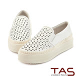 TAS 十字沖孔水鑽牛皮厚底休閒鞋-清新白